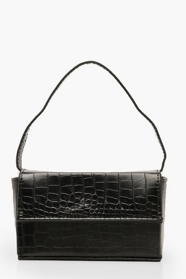 Womens Black Croc Rectangle Box & Cross Body Strap Bag