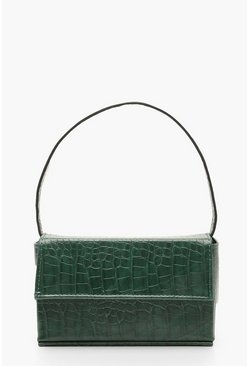 Womens Green Croc Rectangle Box & Cross Body Strap Bag