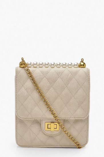 Womens Beige Quilted Pearl Cross Body Bag