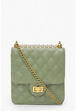Sage Quilted Pearl Cross Body Bag