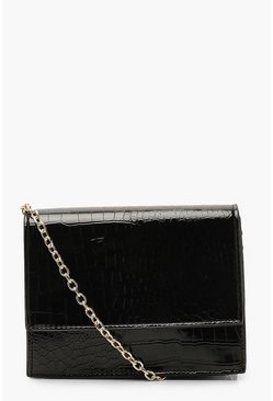 Womens Black Croc Structured Cross Body Bag & Chain