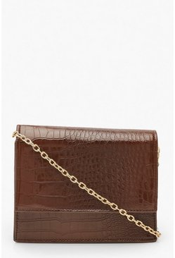 Chocolate Croc Structured Cross Body Bag & Chain