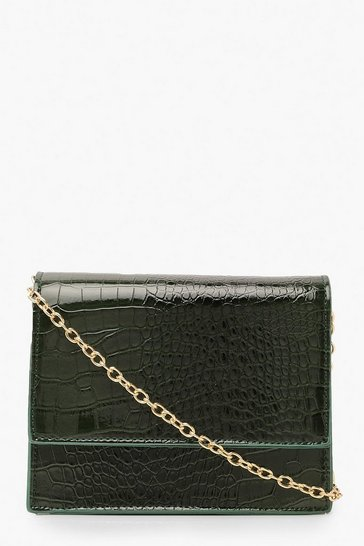 Womens Green Croc Structured Cross Body Bag & Chain