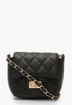 Womens Black Mini Quilted Chain & PU Cross Body Bag