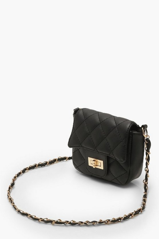Mini Quilted Chain & PU Cross Body Bag
