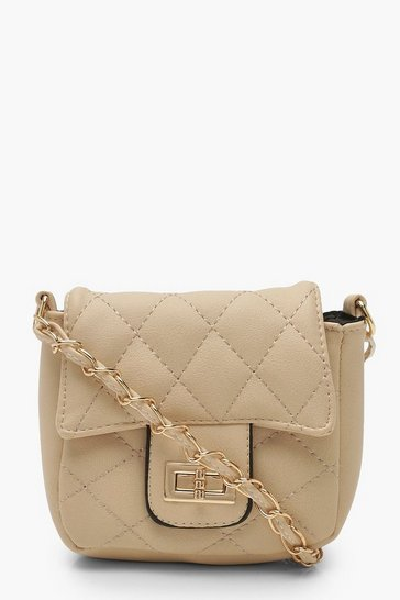 Womens Nude Mini Quilted Chain & PU Cross Body Bag