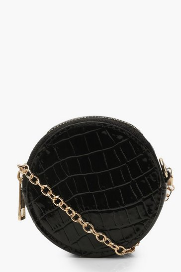 Womens Black Micro Mini Croc Round Drum Cross Body Bag