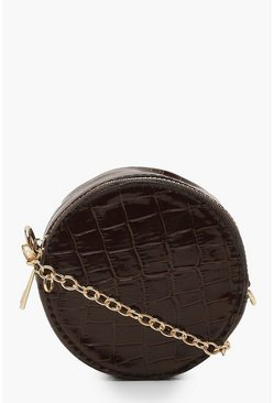Womens Tan Micro Mini Croc Round Drum Cross Body Bag