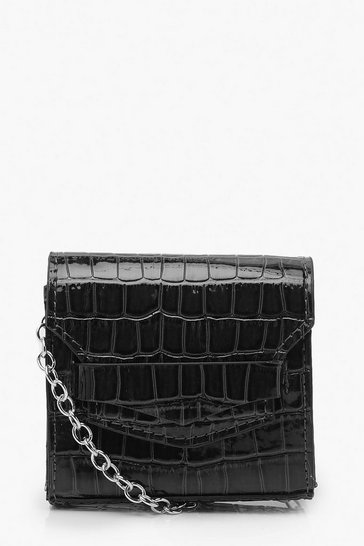 Womens Black Micro Mini Croc Cross Body Bag