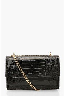 Dam Black Croc Structured Cross Body & Chain Bag