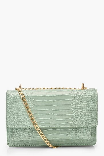 Sage Croc Structured Cross Body & Chain Bag
