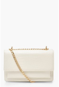 White Croc Structured Cross Body & Chain Bag
