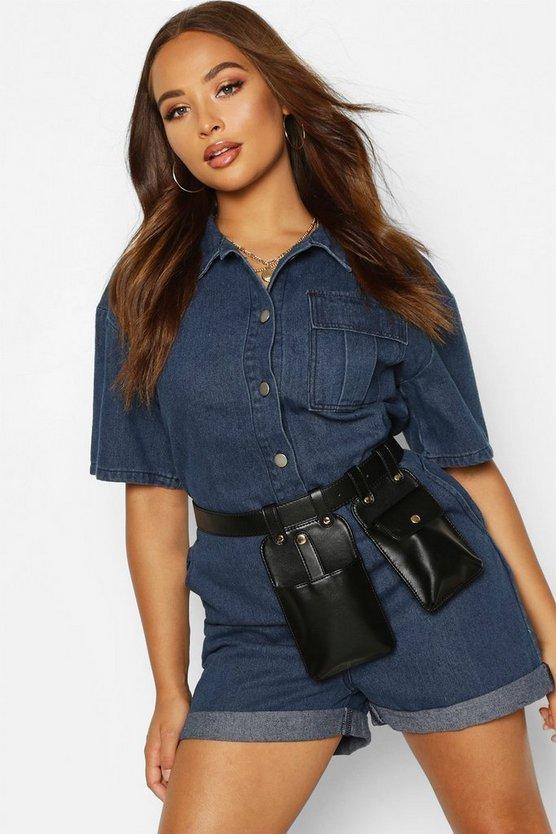Smooth Pu Double Pocket Belt Bag by Boohoo