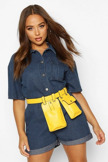 Womens Yellow Smooth PU Double Pocket Belt Bag