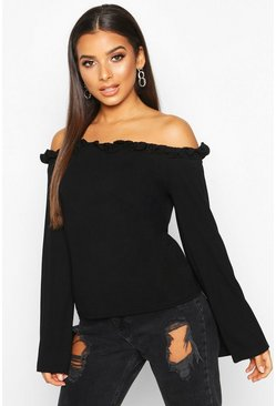 Womens Black Ruffle Edge Flare Over The Shoulder Top