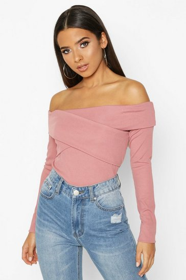 Womens Rose Wrap Rib Over The Shoulder Top