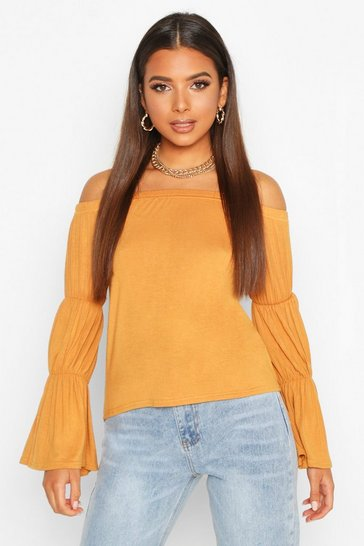 Womens Mustard Over The Shoulder Ruched Sleeve Top