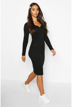 Black Notch Front Jumbo Ribbed Midi Dress