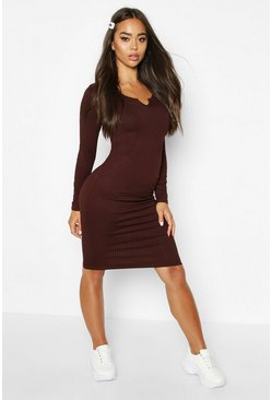 Chocolate Notch Front Jumbo Ribbed Midi Dress