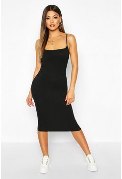 Womens Black Strappy Jumbo Rib Midi Dress