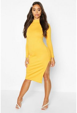 Womens Mustard Jumbo Rib High Neck Split Midi Dress