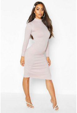 Silver Jumbo Rib High Neck Split Midi Dress