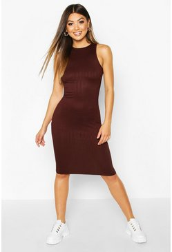 Chocolate Jumbo Rib Racer Front Mini Dress