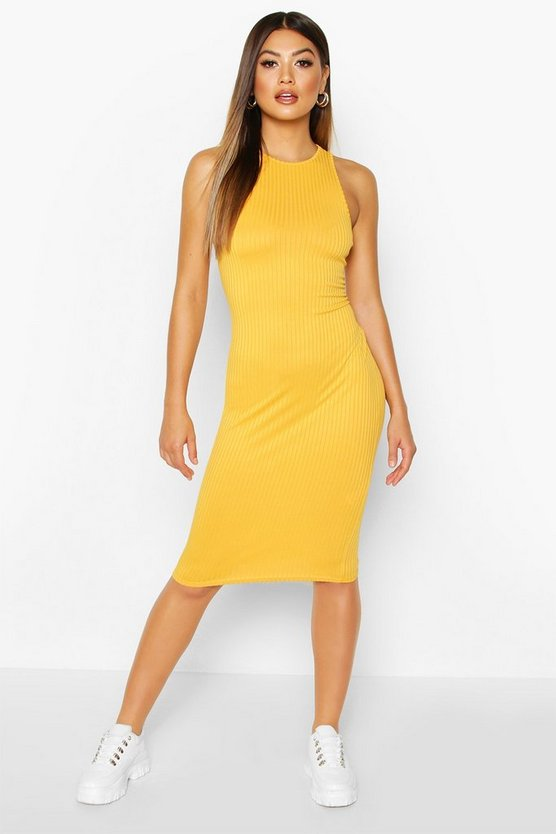 Mustard Jumbo Rib Racer Front Mini Dress
