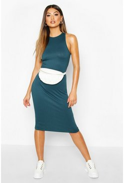 Teal Jumbo Rib Racer Front Mini Dress