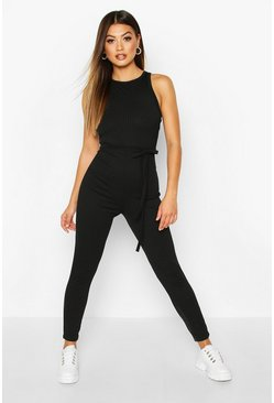 Black Racer Front Ribbed Unitard