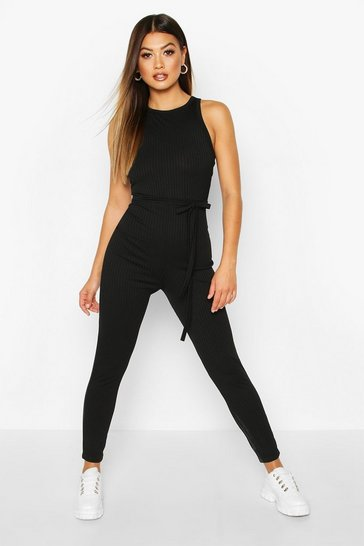 Womens Black Racer Front Ribbed Unitard