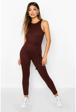Chocolate Racer Front Ribbed Unitard
