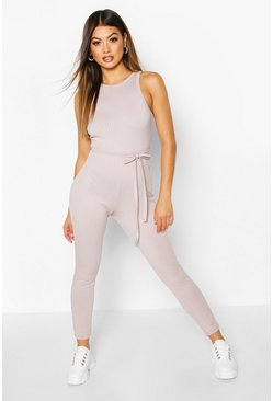 Silver Racer Front Ribbed Unitard