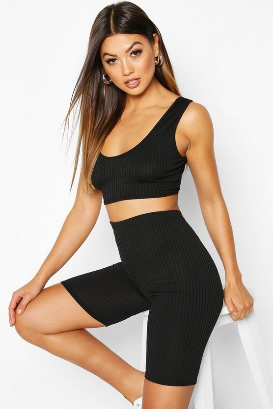 Black Jumbo Ribbed High Waist Cycling Short