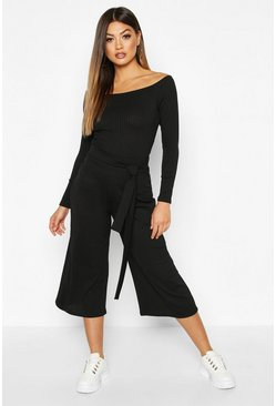 Black Wide Leg Ribbed Culotte