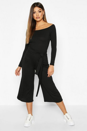 Womens Black Wide Leg Rib Culotte
