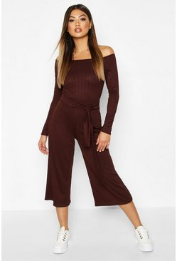 Chocolate Wide Leg Ribbed Culotte