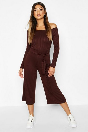 Womens Chocolate Wide Leg Rib Culotte
