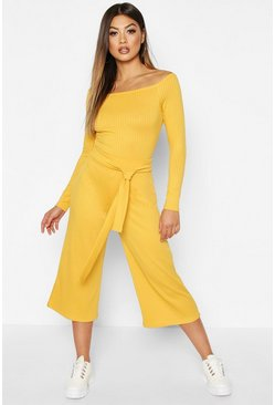 Womens Mustard Wide Leg Ribbed Culotte