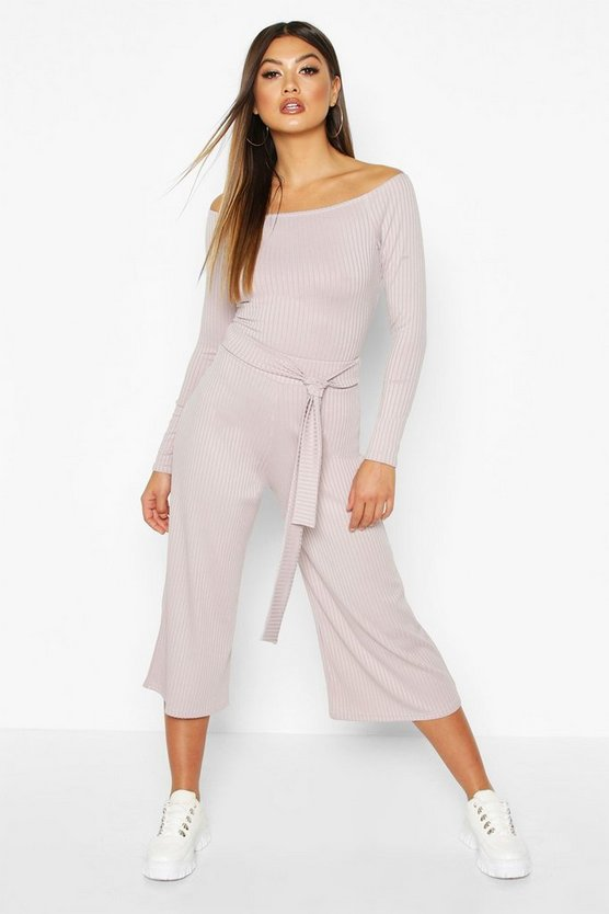 Silver Wide Leg Ribbed Culotte