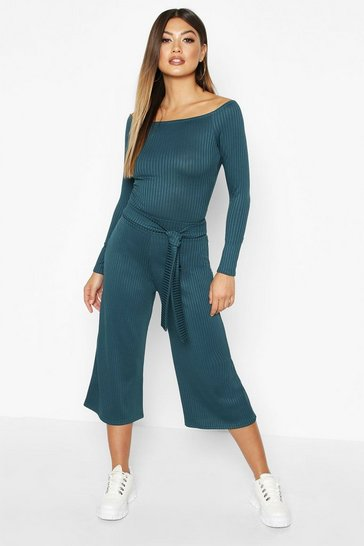 Womens Teal Wide Leg Rib Culotte