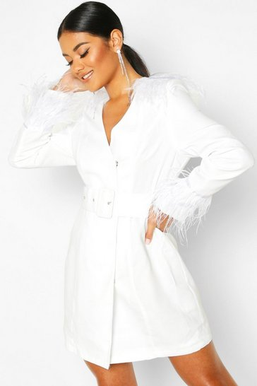 Womens White Feather Belted Dress