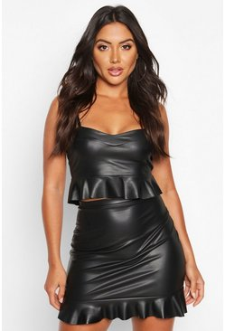Womens Black PU Bralet & Ruffle Mini Skirt Co-ord