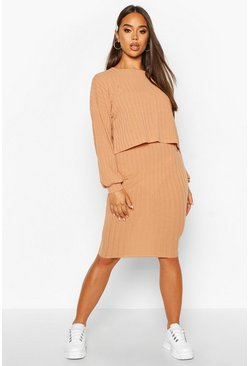 Womens Camel Oversized Rib Top And Midi Skirt