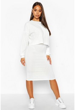 Womens Cream Oversized Rib Top And Midi Skirt