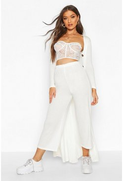 Womens Ivory Fine Rib Wide Leg Trouser