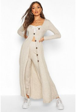 Womens Stone Maxi Fine Rib Button Detail Cardigan