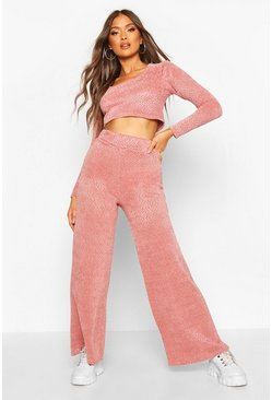 Womens Rose Chenille Wide Leg Knit Set