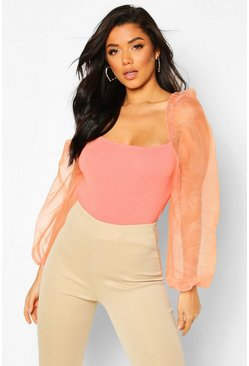 Salmon Organza Puff Sleeve Knitted Top