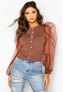Chocolate Knitted Organza Sleeve Cardigan